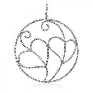 "Pendant ""Hearts"" in 18 ct white gold with 387 brilliants ca. 34,11 ct"