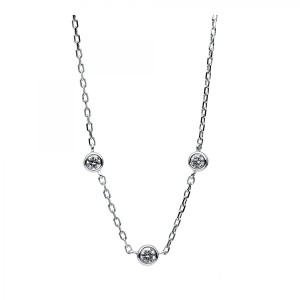 Necklace 14 ct white gold with 3 brilliants ca. 0,15 ct