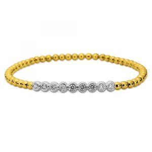 Bracelet  18ct YG/WG with 9 brilliants ca. 0,46 ct
