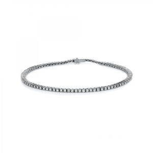 Bracelet 4 prong 18 ct white gold with 87 brilliants ca. 1,48 ct