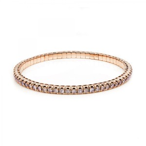 Bracelet 4 prong 18 ct rose gold with 65 brilliants ca. 5,28 ct