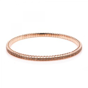 Bracelet 4 prong 18 ct rose gold with 86 brilliants ca. 0,73 ct