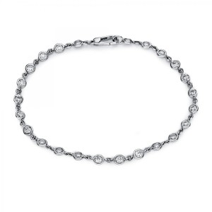 Bracelet 18 ct white gold with 24 brilliants ca. 1,33 ct