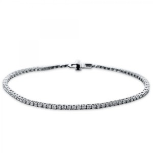 Bracelet 4 prong 18 ct white gold with 89 brilliants ca. 1,50 ct
