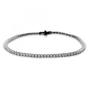 Bracelet 4 prong 18 ct white gold with 79 brilliants ca. 2,50 ct