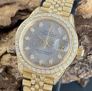 Rolex Oyster Perpetual Datejust Lady 26mm 18 K Gelbgold Diamanten Ref. 6917