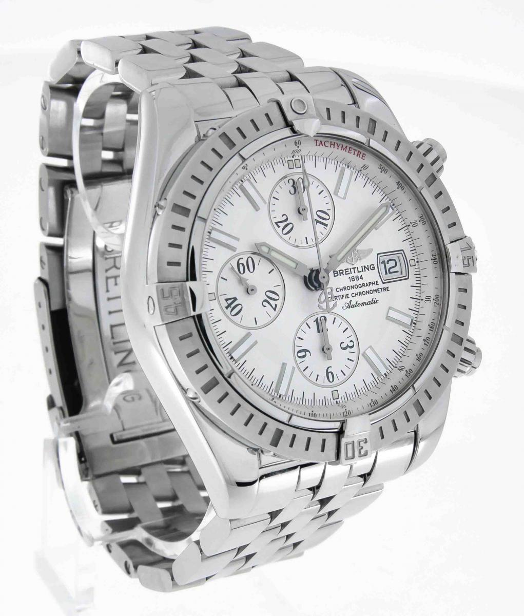 Breitling chronomat evolution chronograph automatic steel on steel bracelet ref a13356 163356 for Breitling automatic