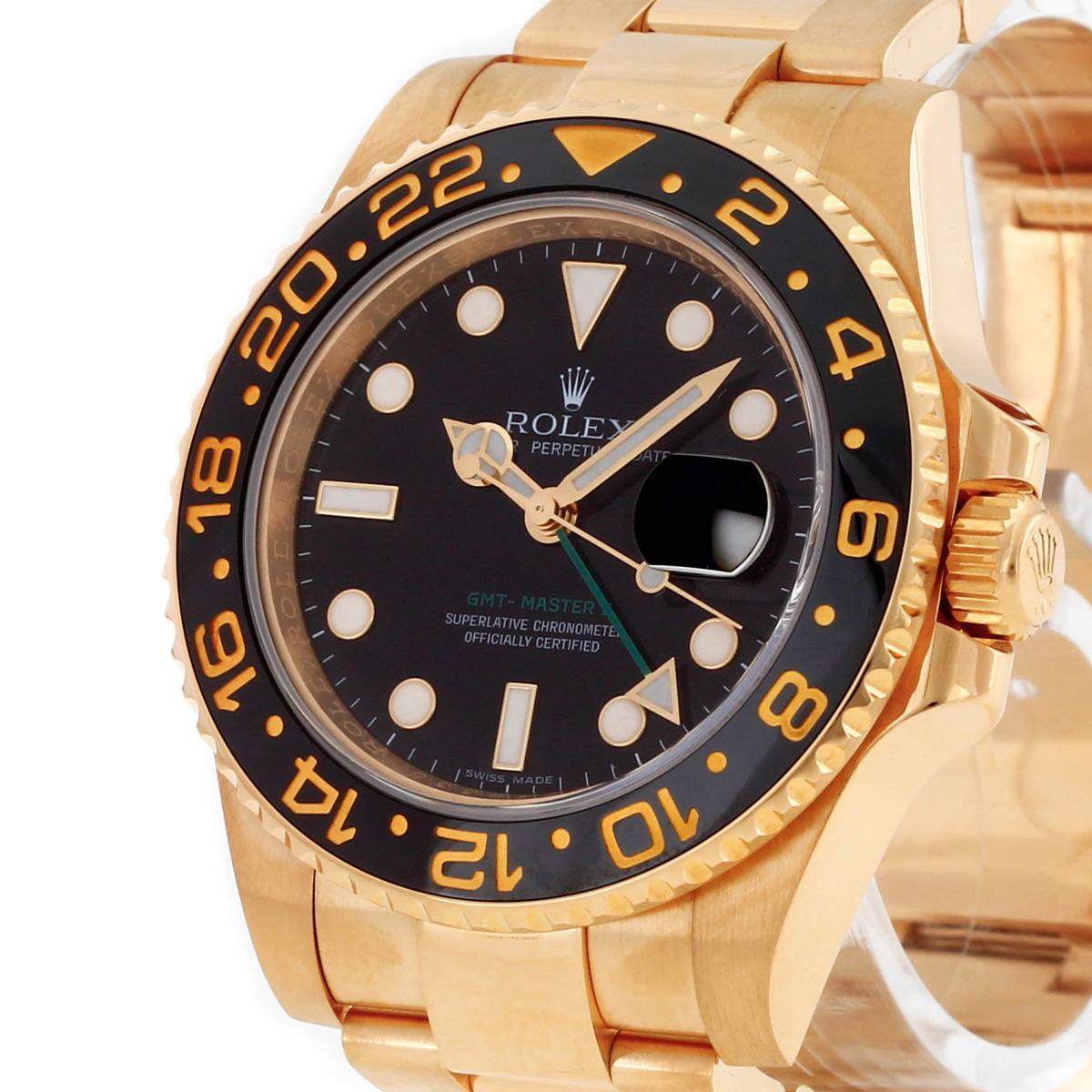 Rolex GMT Master II 18 K Gelbgold und Keramiklünette Ref. 116718