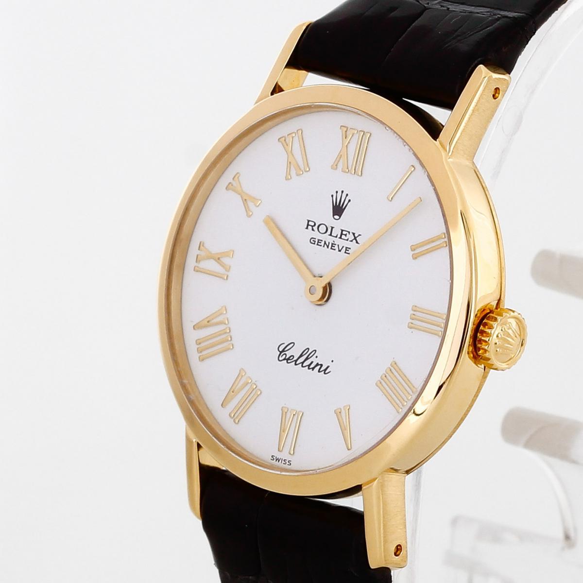 Rolex Cellini 18 K Gelbgold an Lederband Ref. 4109/8