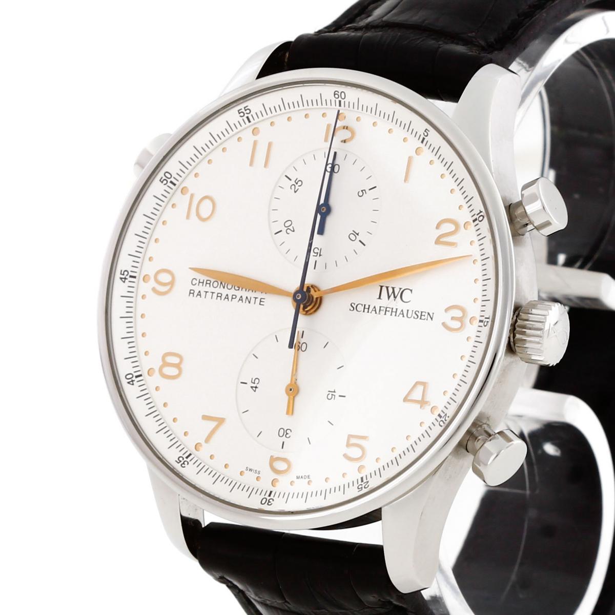 IWC Portugieser Chronograph Rattrapante Edelstahl an Lederband Ref. IW 3712