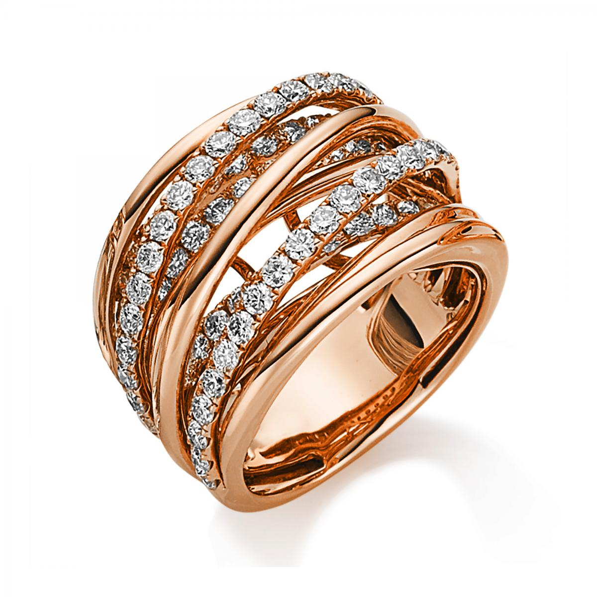 Ring red gold 18 ct with 79 brilliants ca. 1,90 ct, size 54