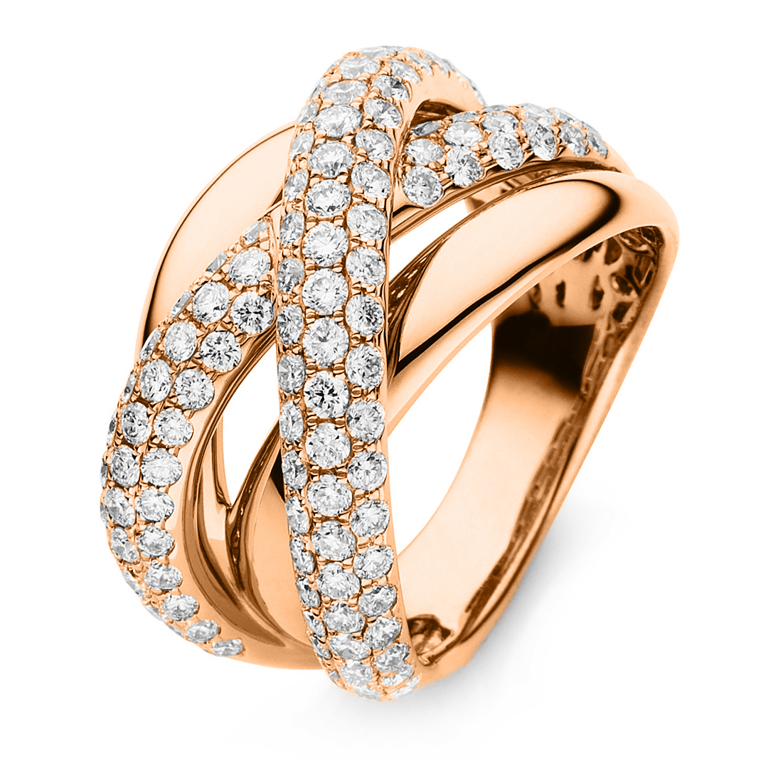 Ring 18 ct red gold with 119 brilliants ca. 1,88 ct, size 55