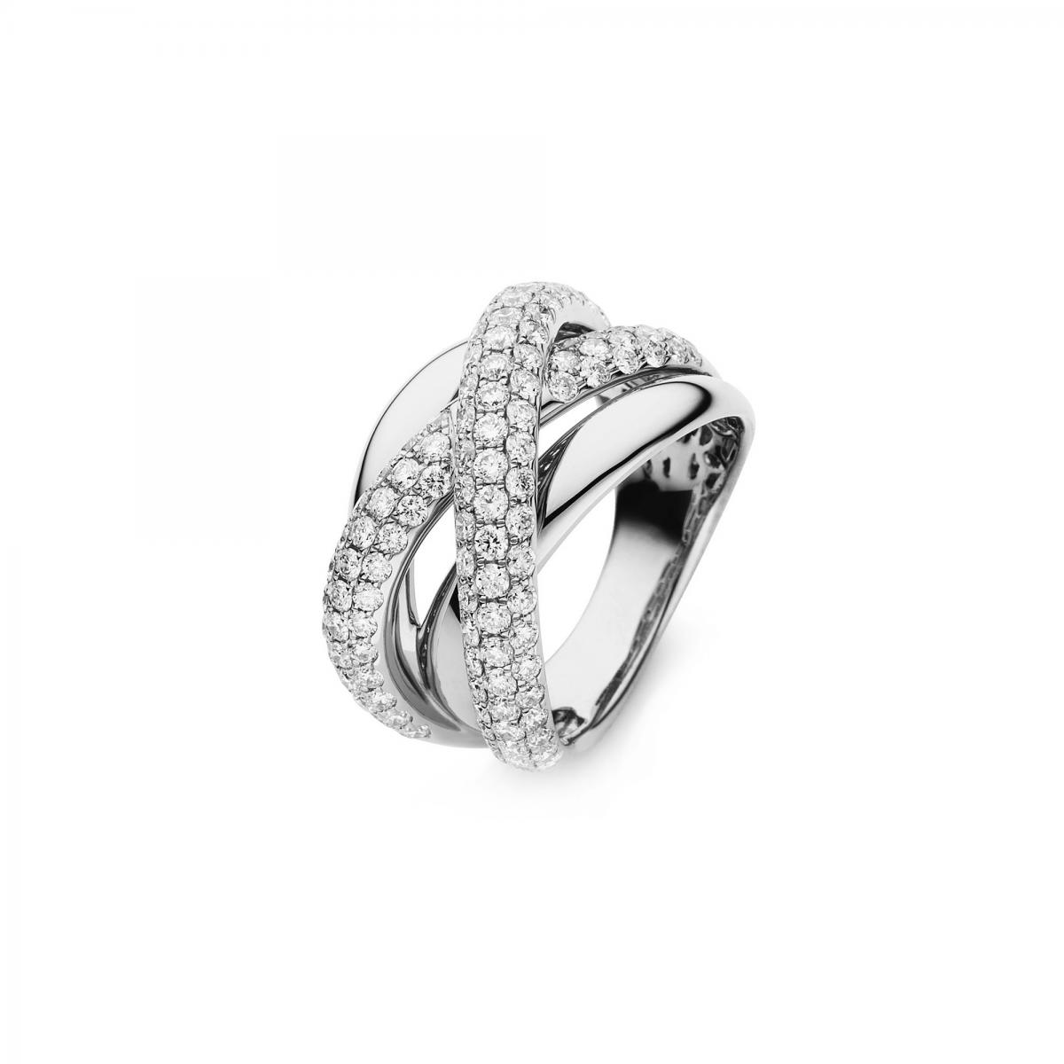 Ring 18 ct white gold with 119 brilliants ca. 1,87 ct, size 53