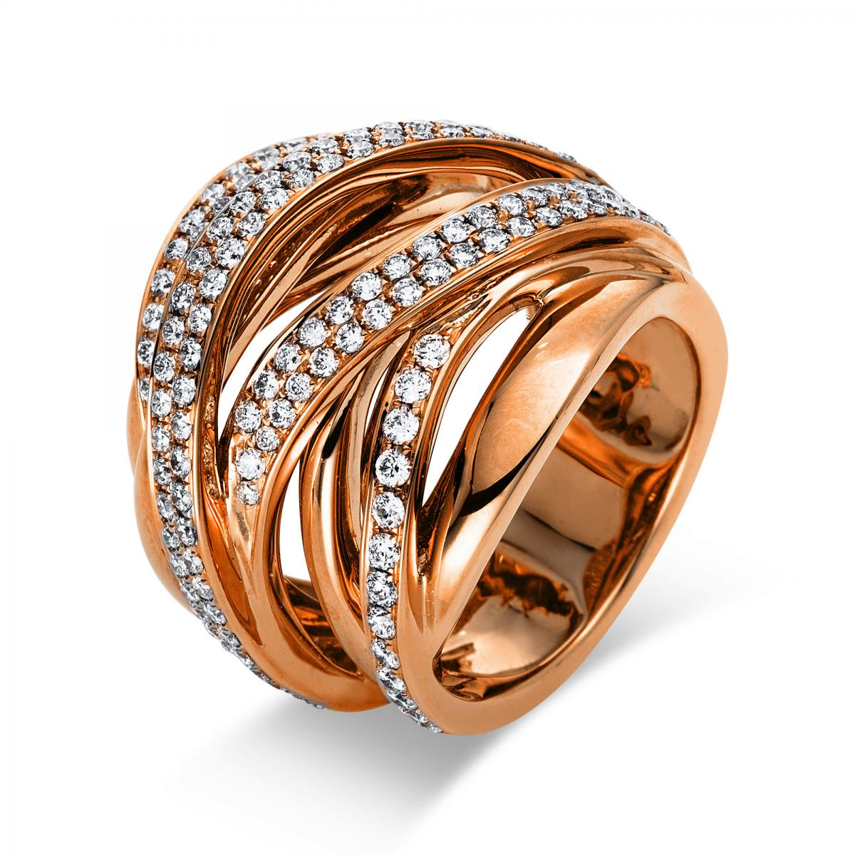 Ring 18 ct rosé gold with 153 brilliants ca. 1,51 ct, size 53