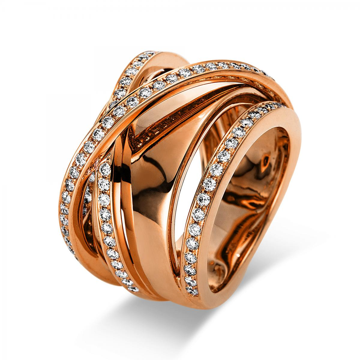 Ring 18 ct rosé gold with 87 brilliants ca. 0,91 ct, size 53
