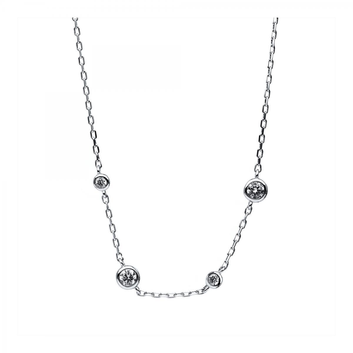 Necklace 14 ct white gold with brilliants ca. 0,16/ca. 0,05 ct